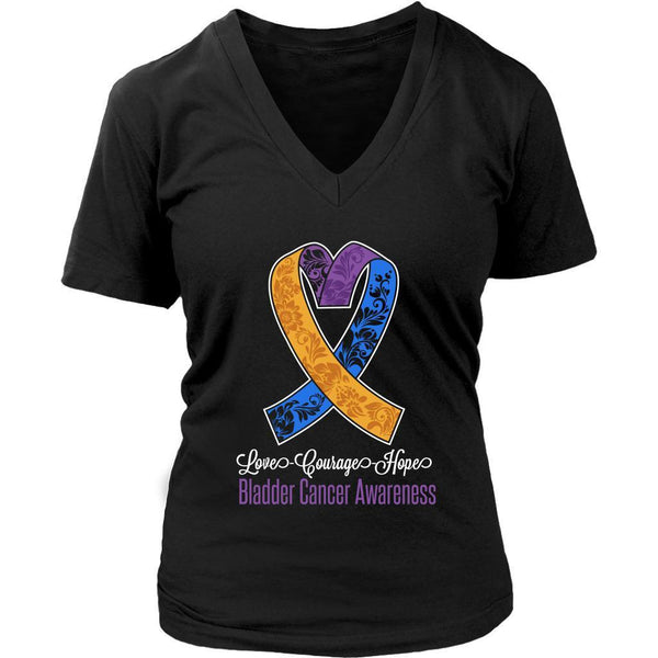 Love Courage Hope Bladder Cancer Cool Yellow Blue & Purple Ribbon VNeck TShirt-T-shirt-District Womens V-Neck-Black-JoyHip.Com