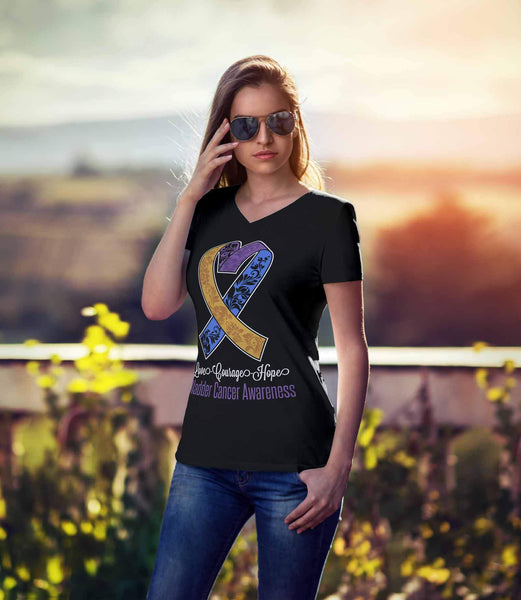 Love Courage Hope Bladder Cancer Cool Yellow Blue & Purple Ribbon VNeck TShirt-T-shirt-JoyHip.Com