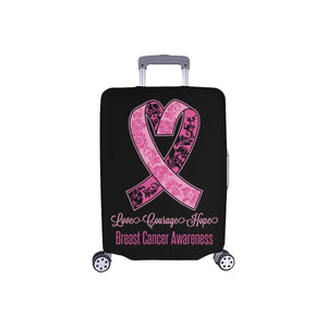 Love Courage Hope Breast Cancer Travel Luggage Cover Suitcase Protector Gifts-S-Black-JoyHip.Com