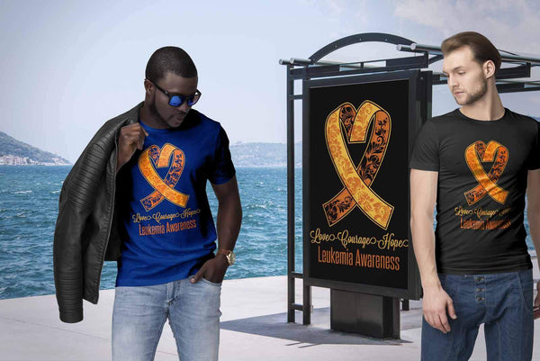 Love Courage Hope Leukemia Awareness Orange Ribbon Men Unisex TShirt-T-shirt-JoyHip.Com