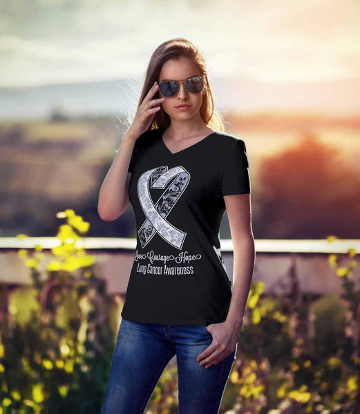 Love Courage Hope Lung Cancer Awareness White Ribbon VNeck TShirt-T-shirt-JoyHip.Com