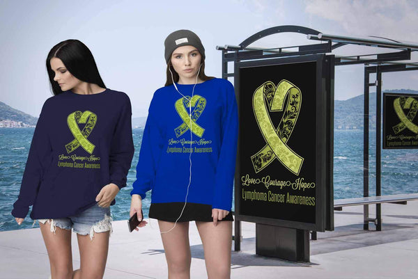 Love Courage Hope Lymphoma Awareness Cool Lime Green Ribbon Gift Ideas Sweater-T-shirt-JoyHip.Com