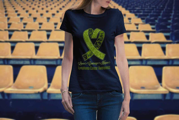 Love Courage Hope Lymphoma Awareness Cool Lime Green Ribbon Gift Ideas TShirt-T-shirt-JoyHip.Com
