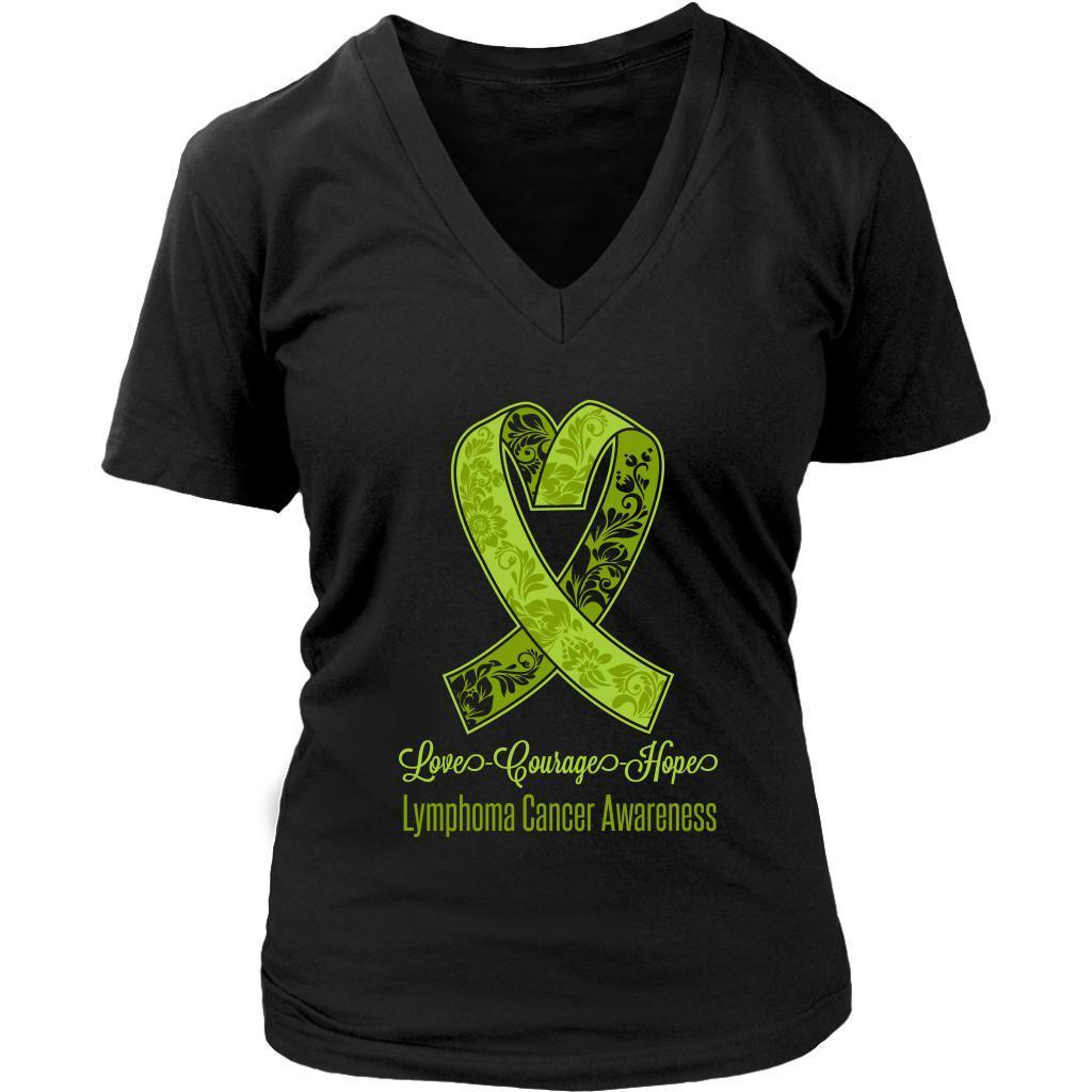 Love Courage Hope Lymphoma Awareness Cool Lime Green Ribbon Gift VNeck TShirt-T-shirt-District Womens V-Neck-Black-JoyHip.Com