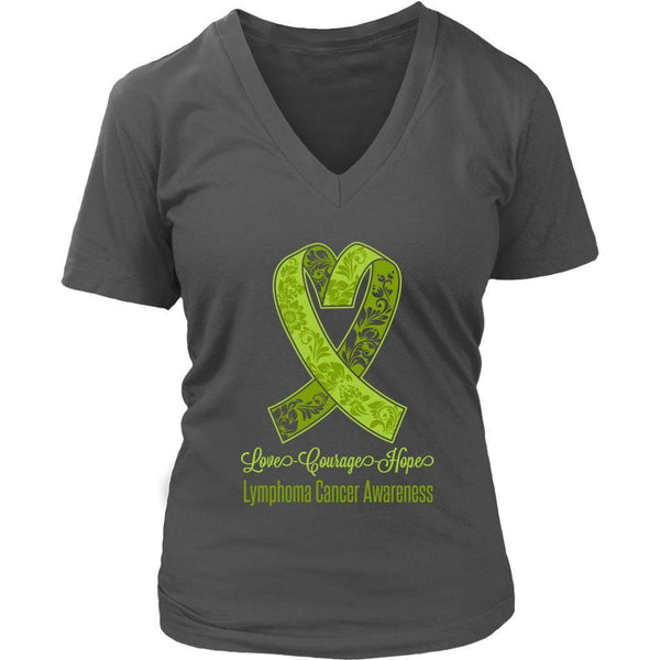 Love Courage Hope Lymphoma Awareness Cool Lime Green Ribbon Gift VNeck TShirt-T-shirt-District Womens V-Neck-Grey-JoyHip.Com