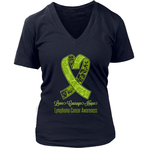 Love Courage Hope Lymphoma Awareness Cool Lime Green Ribbon Gift VNeck TShirt-T-shirt-District Womens V-Neck-Navy-JoyHip.Com