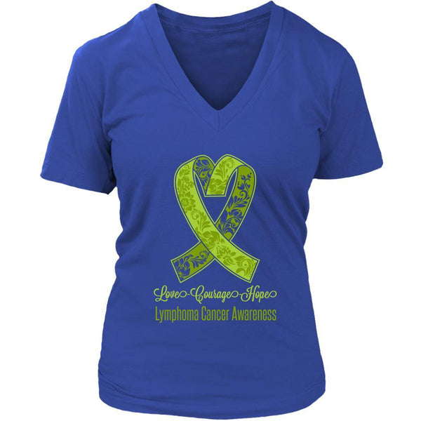 Love Courage Hope Lymphoma Awareness Cool Lime Green Ribbon Gift VNeck TShirt-T-shirt-District Womens V-Neck-Royal Blue-JoyHip.Com