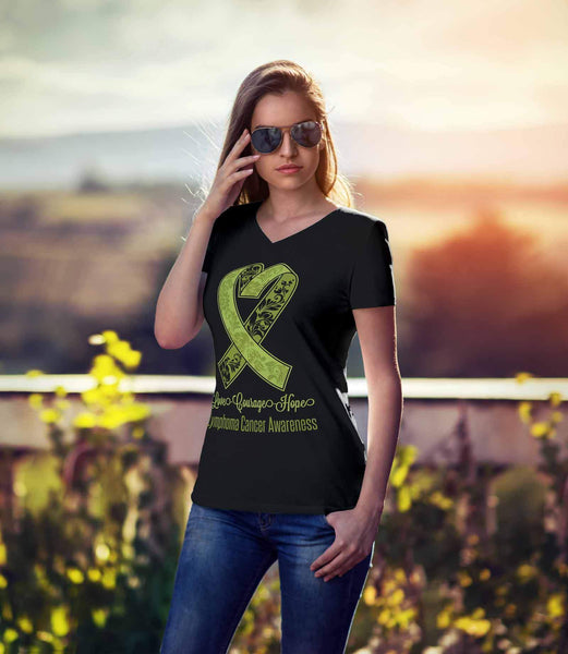 Love Courage Hope Lymphoma Awareness Cool Lime Green Ribbon Gift VNeck TShirt-T-shirt-JoyHip.Com