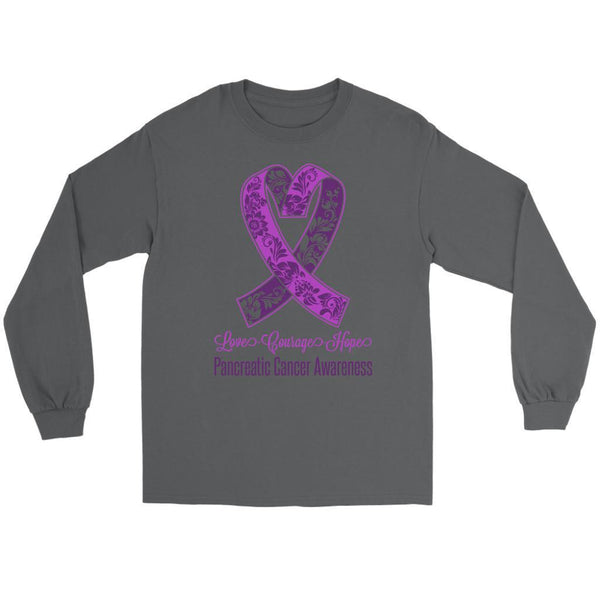 Love Courage Hope Pancreatic Cancer Awareness Purple Ribbon Gift Long Sleeve-T-shirt-Gildan Long Sleeve Tee-Grey-JoyHip.Com