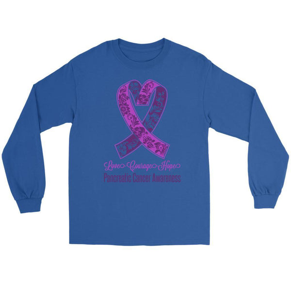 Love Courage Hope Pancreatic Cancer Awareness Purple Ribbon Gift Long Sleeve-T-shirt-Gildan Long Sleeve Tee-Royal Blue-JoyHip.Com