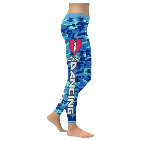 Love Dancing Navy Inspired Blue Camouflage Pattern UPF40+ Cute Womens Leggings-XXS-Navy-JoyHip.Com