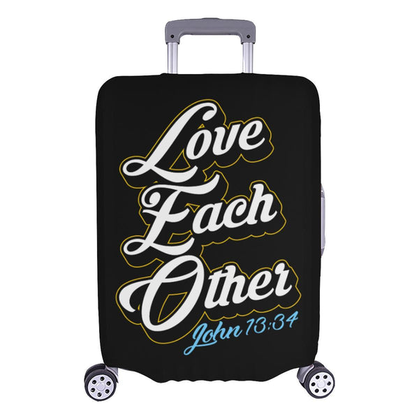 Love Each Other John 13:34 Christian Travel Luggage Cover Suitcase Protector-L-Black-JoyHip.Com