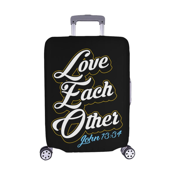 Love Each Other John 13:34 Christian Travel Luggage Cover Suitcase Protector-M-Black-JoyHip.Com