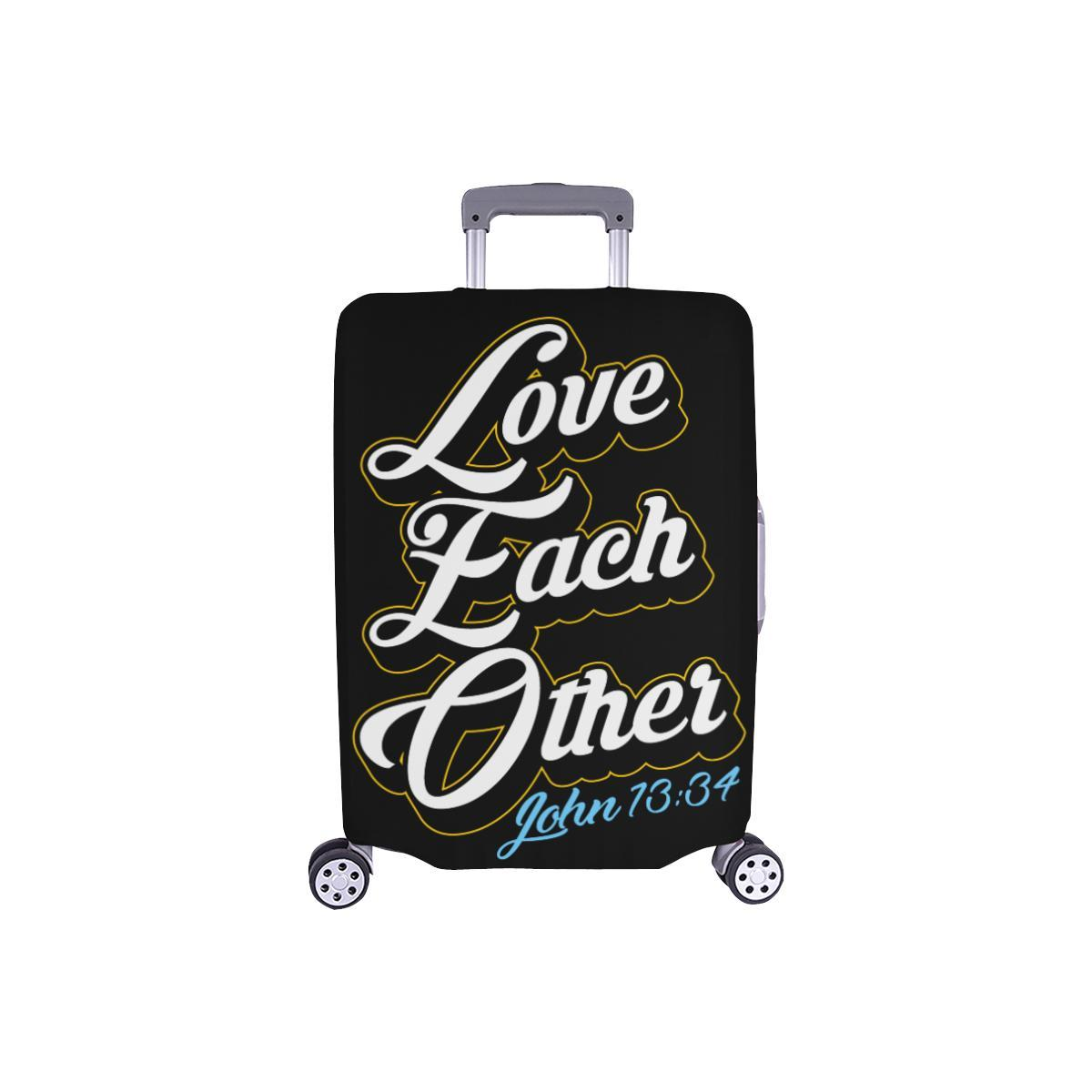 Love Each Other John 13:34 Christian Travel Luggage Cover Suitcase Protector-S-Black-JoyHip.Com