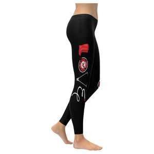 Love Firefighter Fireman Ladderman UPF40+ Moisture Wicking Womens Leggings-XXS-Black-JoyHip.Com