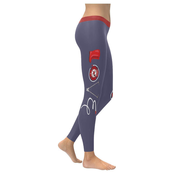 Love Firefighter Fireman Ladderman UPF40+ Moisture Wicking Womens Leggings-XXS-Grey-JoyHip.Com