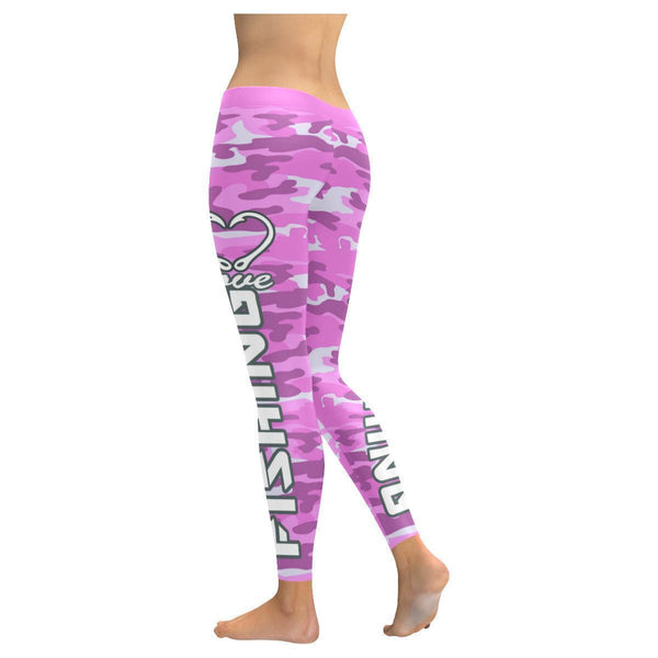 Love Fishing Navy Inspired Blue Camouflage Pattern UPF40+ Cute Womens Leggings-JoyHip.Com