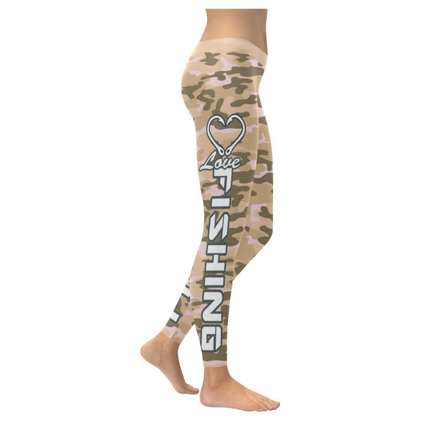 Love Fishing Navy Inspired Blue Camouflage Pattern UPF40+ Cute Womens Leggings-XXS-Desert-JoyHip.Com