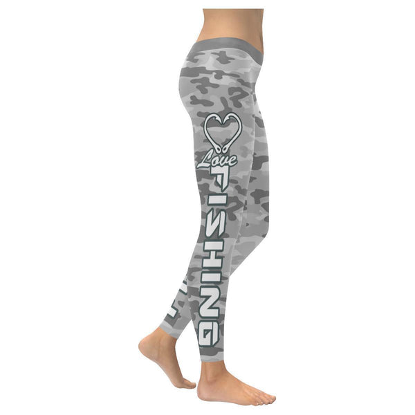 Love Fishing Navy Inspired Blue Camouflage Pattern UPF40+ Cute Womens Leggings-XXS-Grey-JoyHip.Com