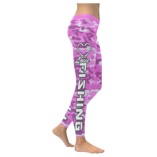 Love Fishing Navy Inspired Blue Camouflage Pattern UPF40+ Cute Womens Leggings-XXS-Magenta-JoyHip.Com