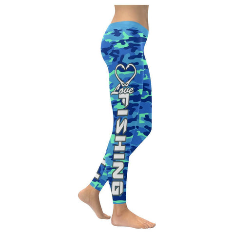 Love Fishing Navy Inspired Blue Camouflage Pattern UPF40+ Cute Womens Leggings-XXS-Navy-JoyHip.Com