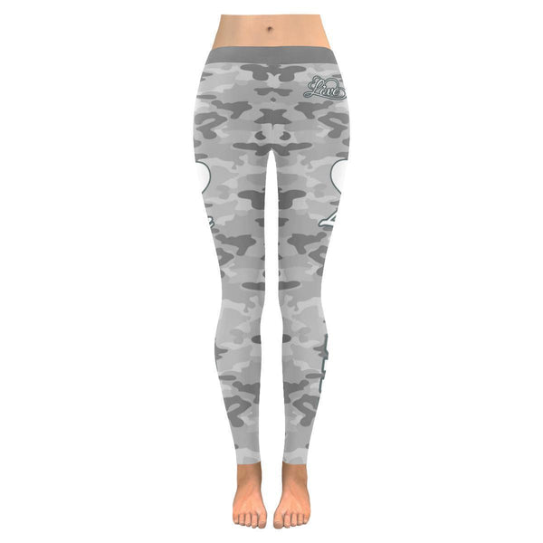 Love Hiking Navy Inspired Blue Camouflage Pattern UPF40+ Cute Womens Leggings-JoyHip.Com