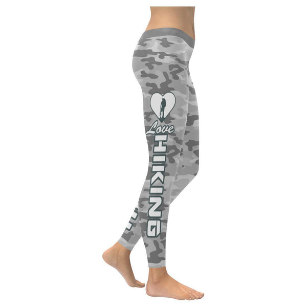 Love Hiking Navy Inspired Blue Camouflage Pattern UPF40+ Cute Womens Leggings-XXS-Grey-JoyHip.Com