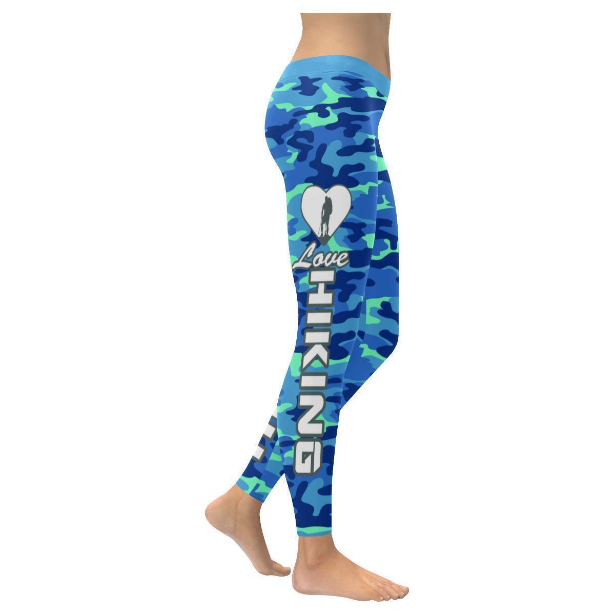 Love Hiking Navy Inspired Blue Camouflage Pattern UPF40+ Cute Womens Leggings-XXS-Navy-JoyHip.Com
