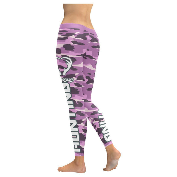 Love Hunting Navy Inspired Blue Camouflage Pattern UPF40+ Cute Womens Leggings-JoyHip.Com