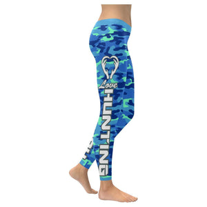 Love Hunting Navy Inspired Blue Camouflage Pattern UPF40+ Cute Womens Leggings-XXS-Navy-JoyHip.Com