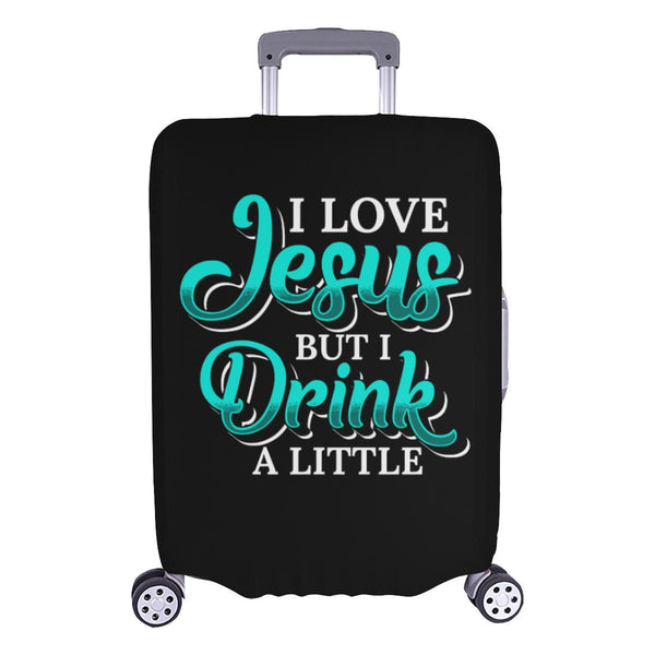 Love Jesus But Drink A Little Christian Travel Luggage Cover Suitcase Protector-L-Black-JoyHip.Com
