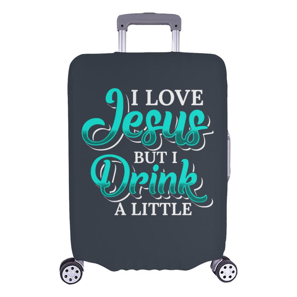 Love Jesus But Drink A Little Christian Travel Luggage Cover Suitcase Protector-L-Grey-JoyHip.Com