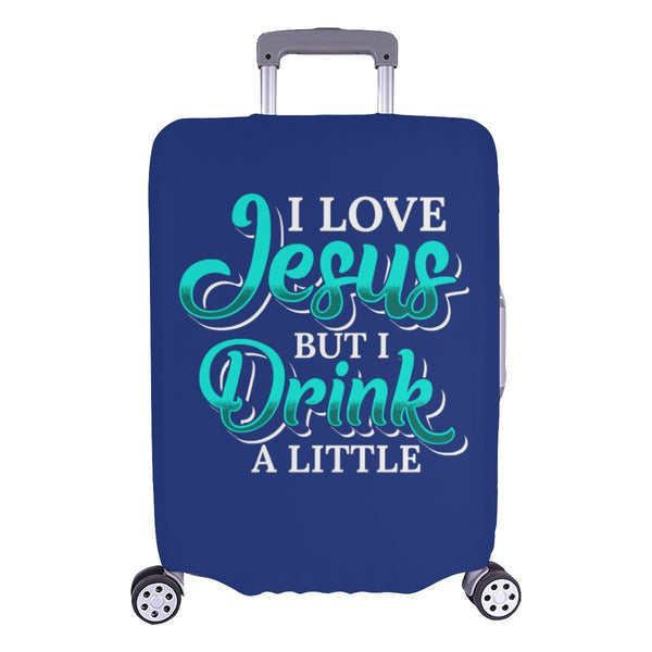 Love Jesus But Drink A Little Christian Travel Luggage Cover Suitcase Protector-L-Navy-JoyHip.Com