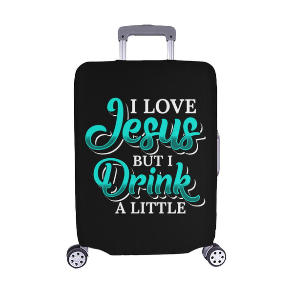 Love Jesus But Drink A Little Christian Travel Luggage Cover Suitcase Protector-M-Black-JoyHip.Com