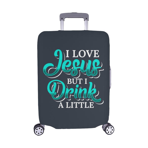 Love Jesus But Drink A Little Christian Travel Luggage Cover Suitcase Protector-M-Grey-JoyHip.Com