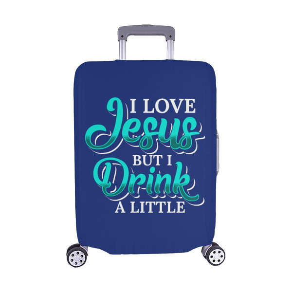 Love Jesus But Drink A Little Christian Travel Luggage Cover Suitcase Protector-M-Navy-JoyHip.Com
