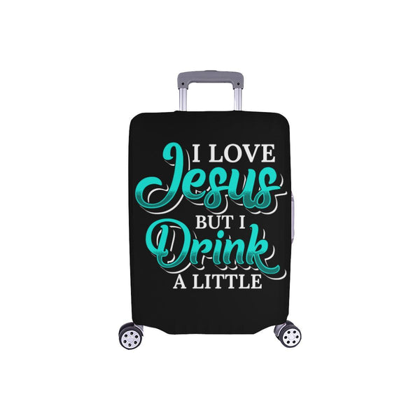 Love Jesus But Drink A Little Christian Travel Luggage Cover Suitcase Protector-S-Black-JoyHip.Com