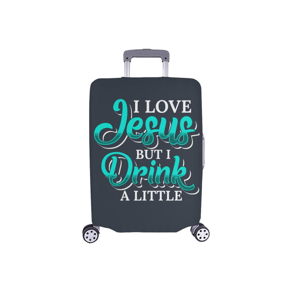 Love Jesus But Drink A Little Christian Travel Luggage Cover Suitcase Protector-S-Grey-JoyHip.Com