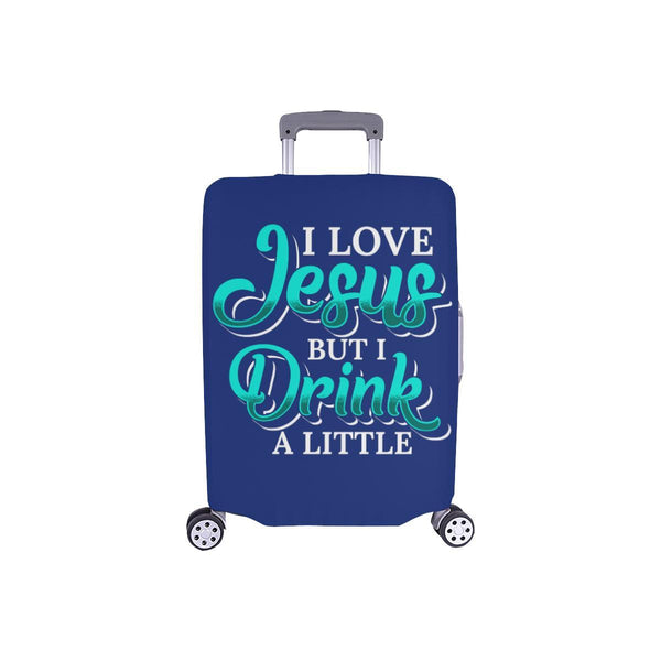 Love Jesus But Drink A Little Christian Travel Luggage Cover Suitcase Protector-S-Navy-JoyHip.Com