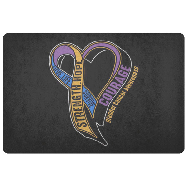 Love Life Survive Strength Hope Courage Bladder Cancer 18X26 Indoor Door Mat Rug-Doormat-Black-JoyHip.Com