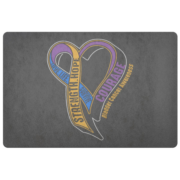 Love Life Survive Strength Hope Courage Bladder Cancer 18X26 Indoor Door Mat Rug-Doormat-Grey-JoyHip.Com