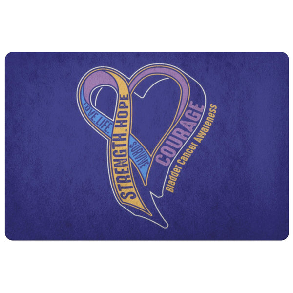 Love Life Survive Strength Hope Courage Bladder Cancer 18X26 Indoor Door Mat Rug-Doormat-Navy-JoyHip.Com