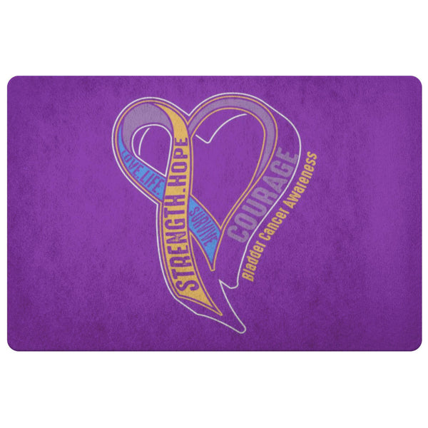 Love Life Survive Strength Hope Courage Bladder Cancer 18X26 Indoor Door Mat Rug-Doormat-Purple-JoyHip.Com