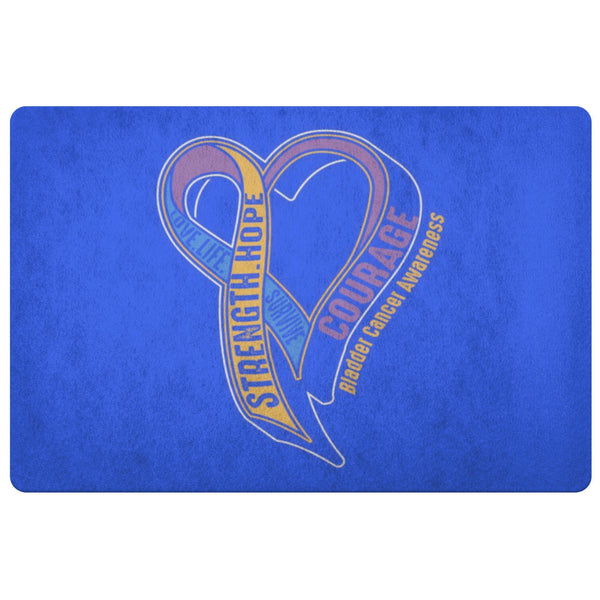 Love Life Survive Strength Hope Courage Bladder Cancer 18X26 Indoor Door Mat Rug-Doormat-Royal Blue-JoyHip.Com
