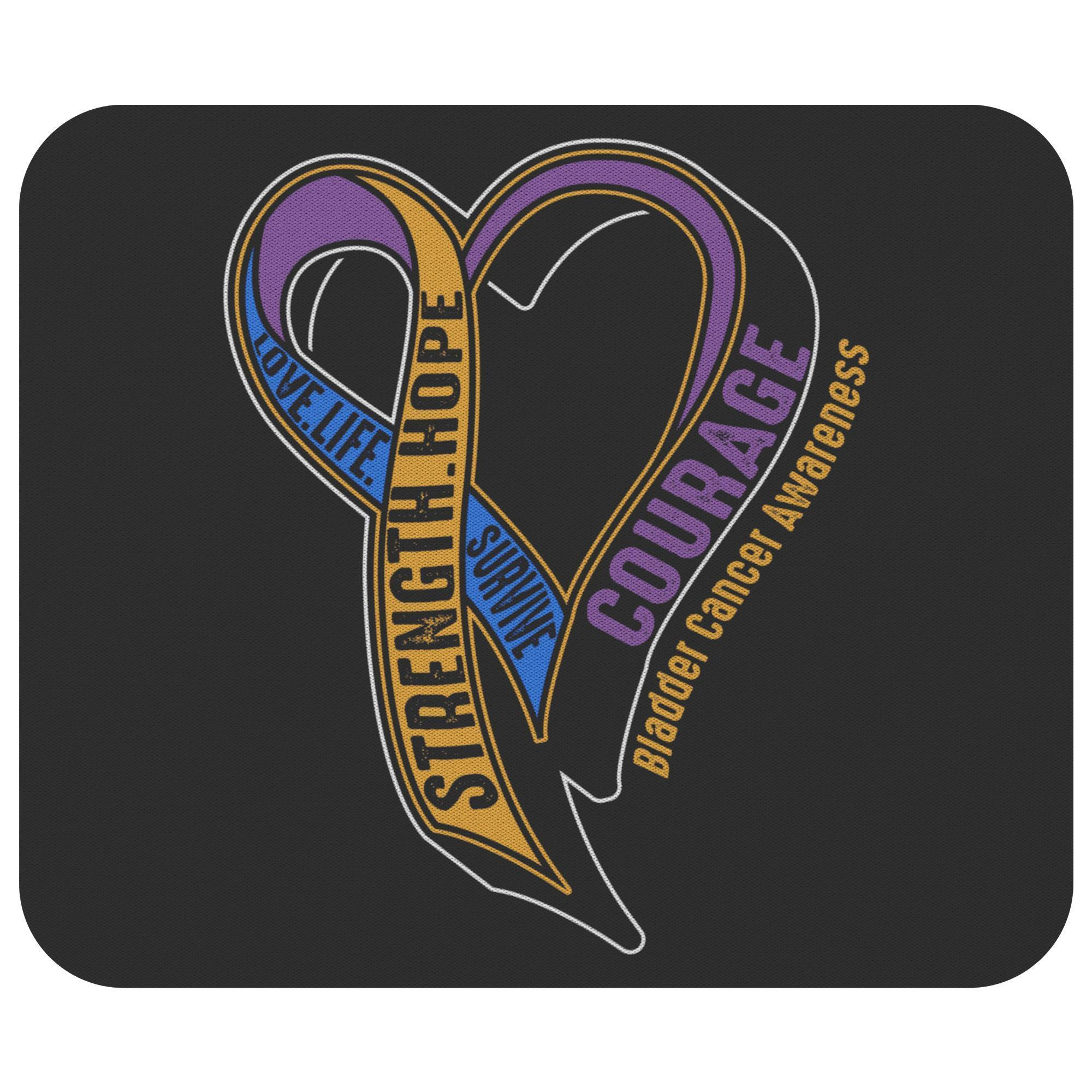 Love Life Survive Strength Hope Courage Bladder Cancer Awareness Gifts Mouse Pad-Mousepads-Black-JoyHip.Com
