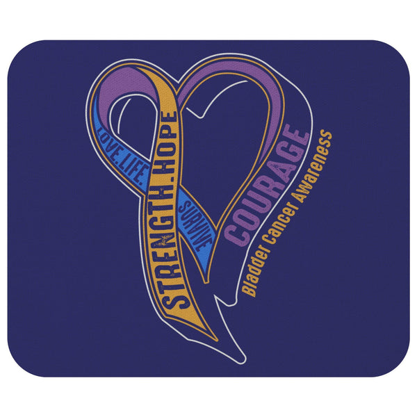 Love Life Survive Strength Hope Courage Bladder Cancer Awareness Gifts Mouse Pad-Mousepads-Navy-JoyHip.Com