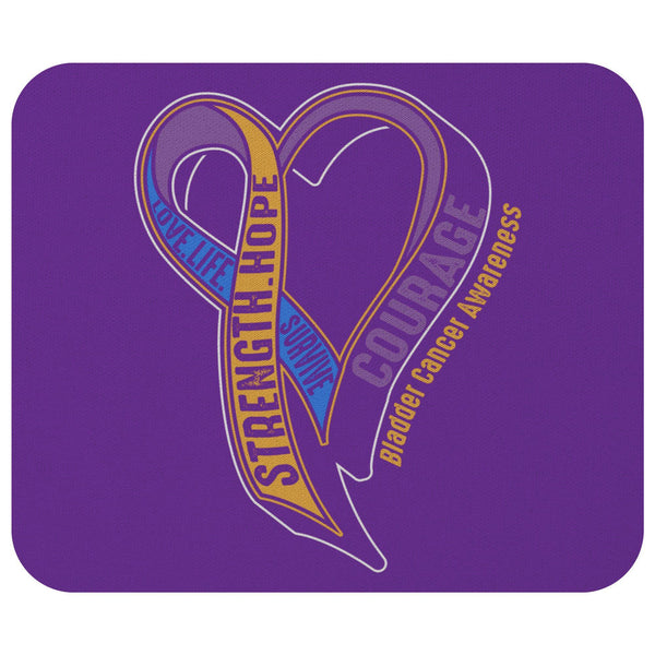 Love Life Survive Strength Hope Courage Bladder Cancer Awareness Gifts Mouse Pad-Mousepads-Purple-JoyHip.Com