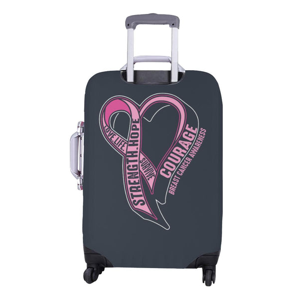 Love Life Survive Strength Hope Courage Breast Cancer Awareness Luggage Cover-JoyHip.Com