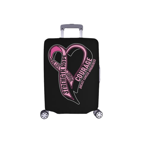 Love Life Survive Strength Hope Courage Breast Cancer Awareness Luggage Cover-S-Black-JoyHip.Com