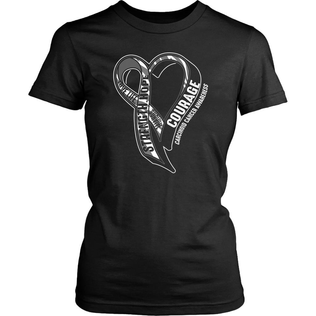 Love Life Survive Strength Hope Courage Carcinoid Cancer Awareness Women TShirt-T-shirt-District Womens Shirt-Black-JoyHip.Com